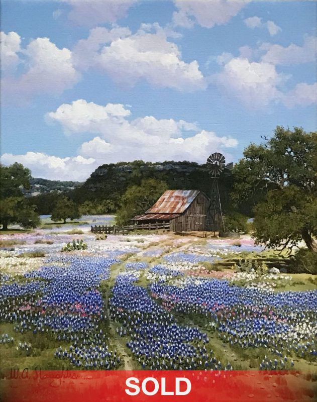 William Slaughter Bluebonnets landscape western oil painting