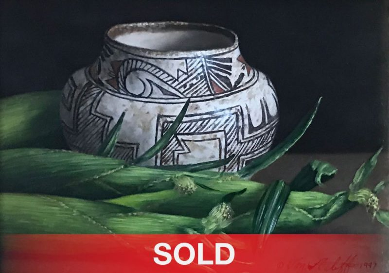 William Acheff still life Native American pot corn oil painting
