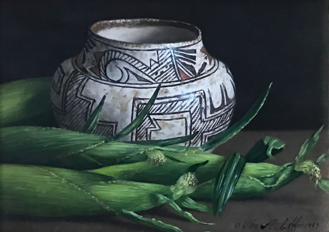 William Acheff Still Life corn Native American pot western oil painting
