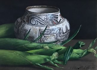 William Acheff Still Life corn Native American pot western oil painting