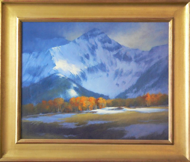David Riedel Autumn Storm snow high mountain western landscape oil painting framed