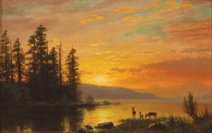 Albert Bierstadt Sunset Salt Lake western landscape oil painting