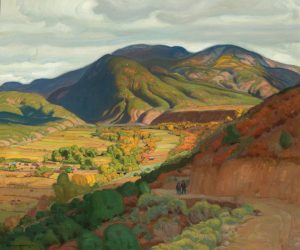E Martin Hennings Across The Valley western wildlife landscape oil painting