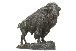 Henry Shrady Elk Buffalo bronze sculpture wildlife