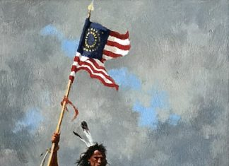 Howard Terpning Change Of Command Native American horses American flag western oil painting
