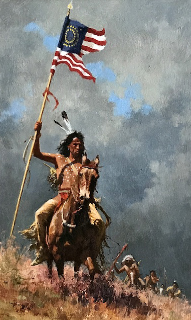 Howard Terpning Change Of Command Native American horses American flag western oil painting cropped