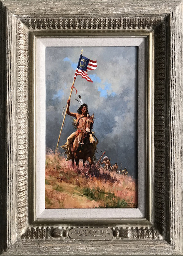 Howard Terpning Change Of Command Native American horses American flag western oil painting framed