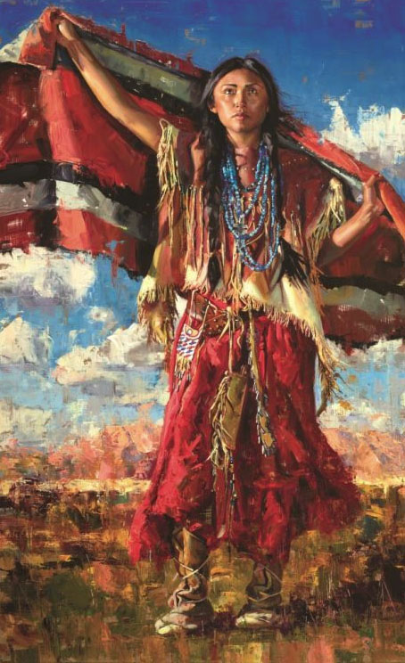 "Jeremy Winborg ""Beauty Of The Desert Native American woman blanket western oil painting"