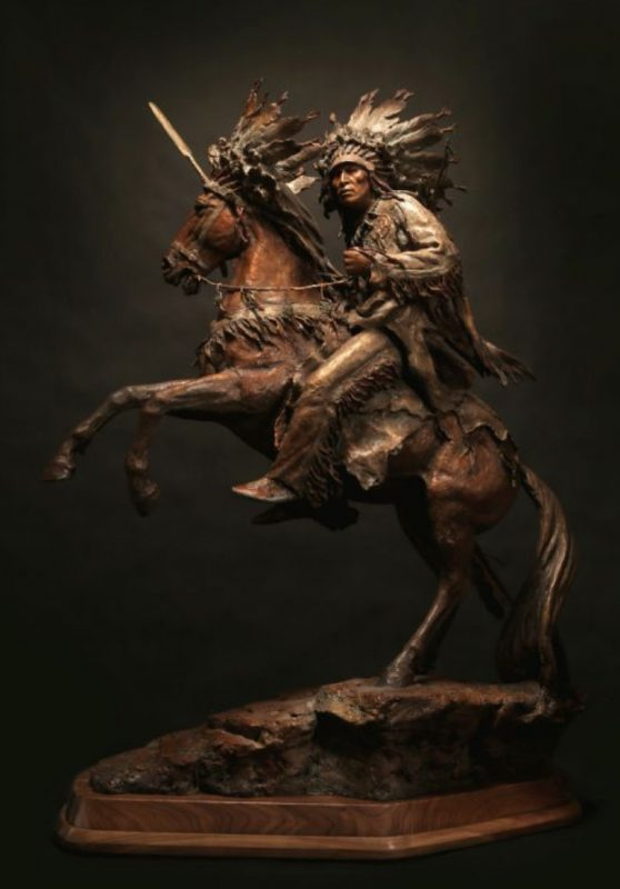"Johh Coleman ""He Who Jumps Over Everything"" Native American horse chief headdress spear warrior western bronze sculpture"