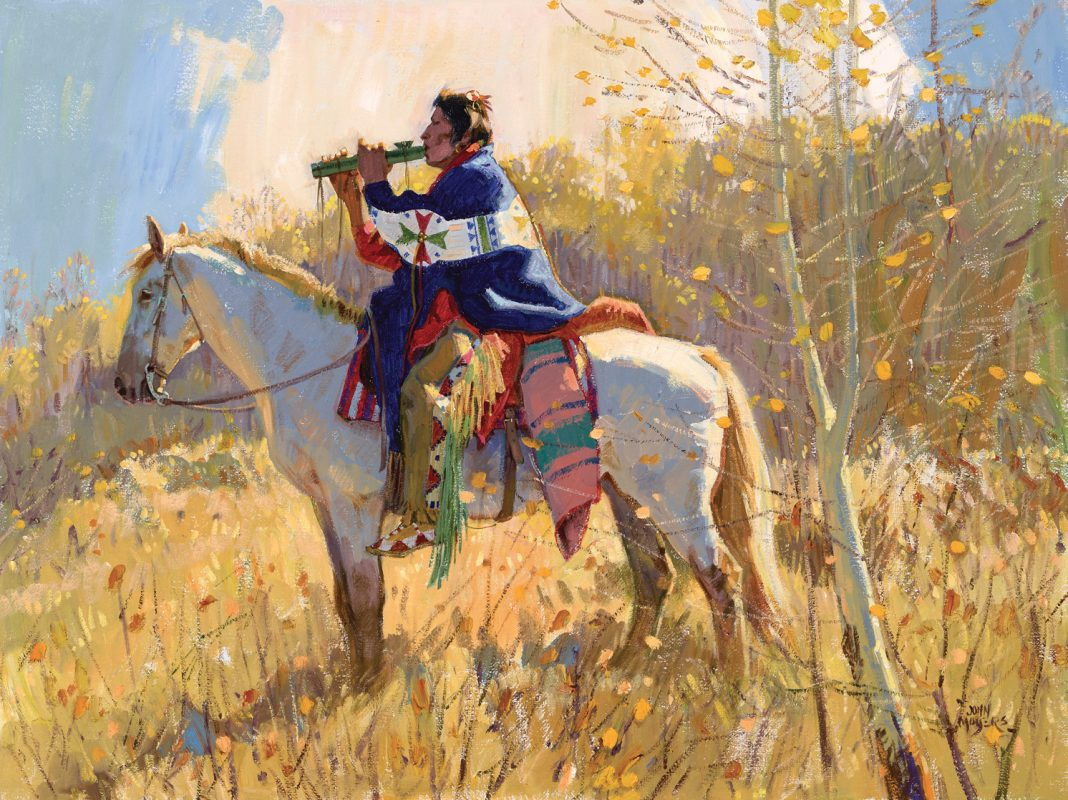 John Moyers End Of The Season Native American western landscape oil painting