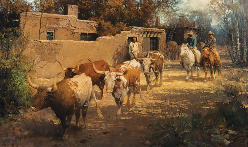 Melvin Warren Remnants Of The Herd western oil painting cowboy ranch