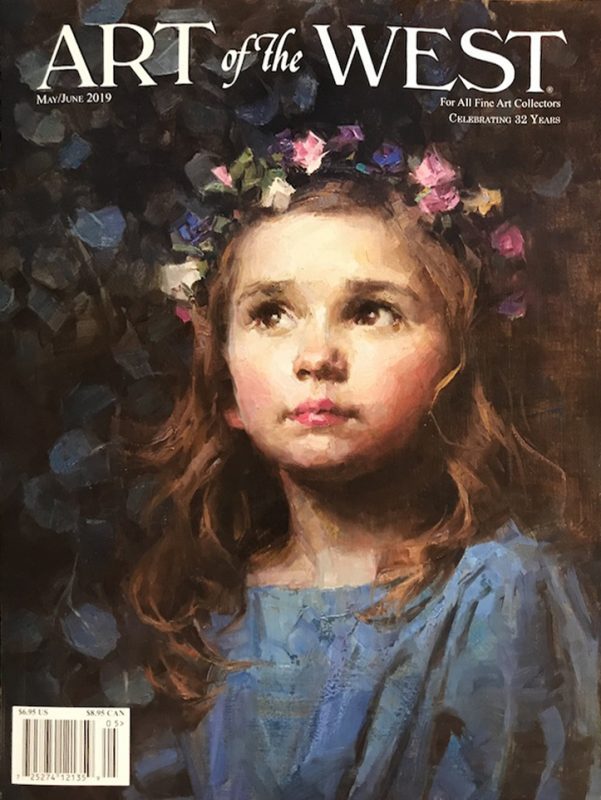 Morgan Weistling Art of the West magazine cover figure portrait girl roses figurative western oil painting