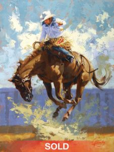 Jim Connelly Into The Blue bucking horse rodeo cowboy action western oil painting