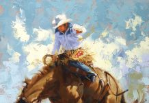 Jim Connelly Into The Blue bucking horse cowboy rodeo ranch western oil painting