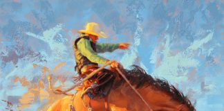 Jim Connelly Sundown Showdown bucking horse cowboy rodeo ranch western oil painting