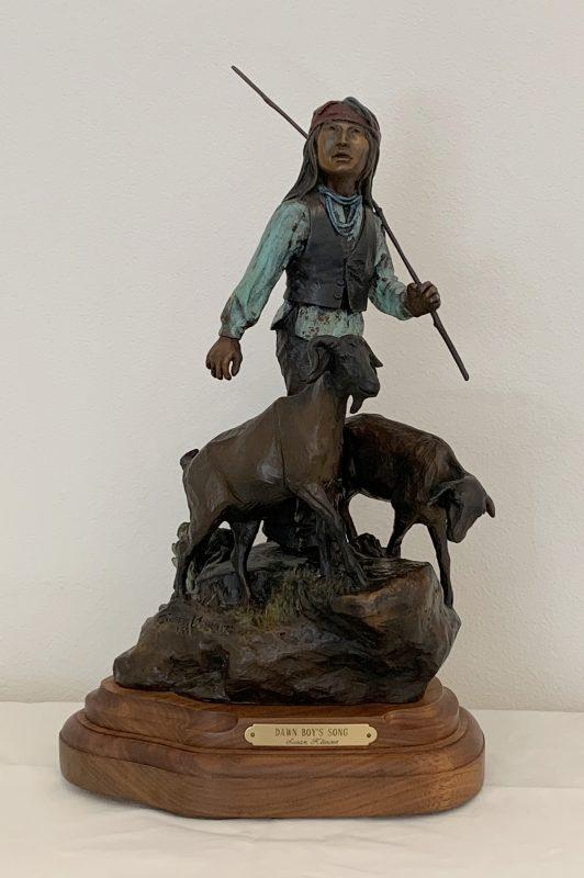 Susan Kliewer Dawn Boy's Song Native American boy lamb sheep bronze western sculpture