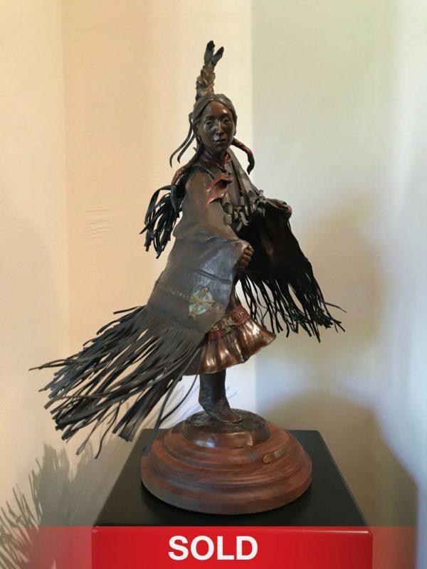 Susan Kliewer Fancy Shawl Dancer Native American woman dance pow wow western bronze sculpture