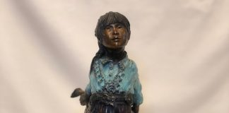 Susan Kliewer Squash Blossom Native American girl bronze sculpture