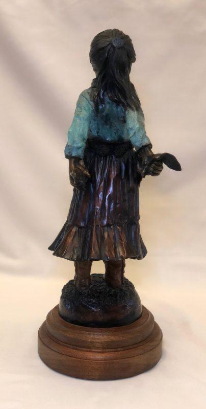 Susan Kliewer Squash Blossom Native American girl bronze sculpture back