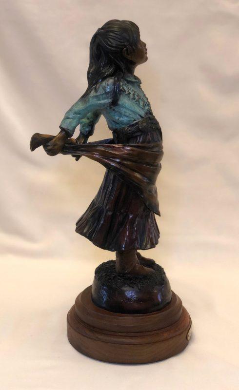 Susan Kliewer Squash Blossom Native American girl bronze sculpture side