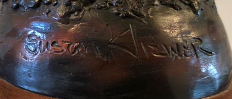 Susan Kliewer Squash Blossom Native American girl bronze sculpture signature