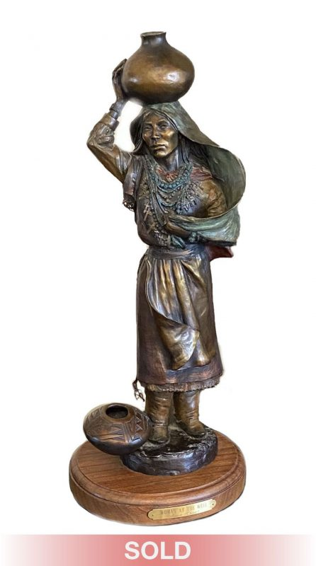 Susan Kliewer Woman At The Well Native American girl pottery western bronze sculpture