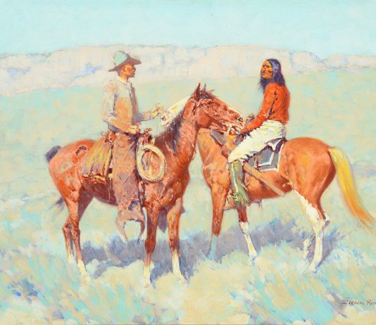 "Frederic Remington ""Casuals On The Range"" cowboy Indian Native American western oil painting"