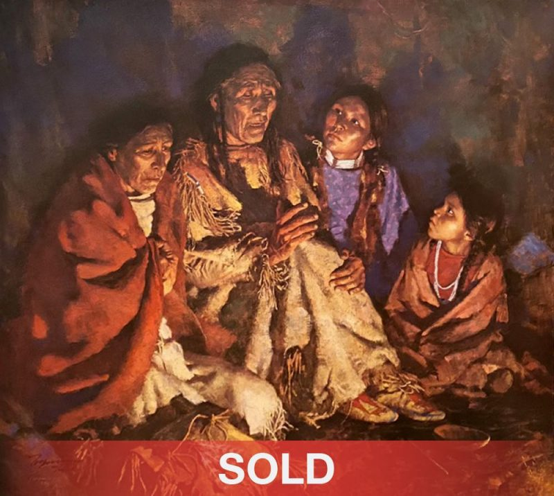 Howard Terpning Grandfather Speaks Native American tipi tee pee fire western oil painting giclee