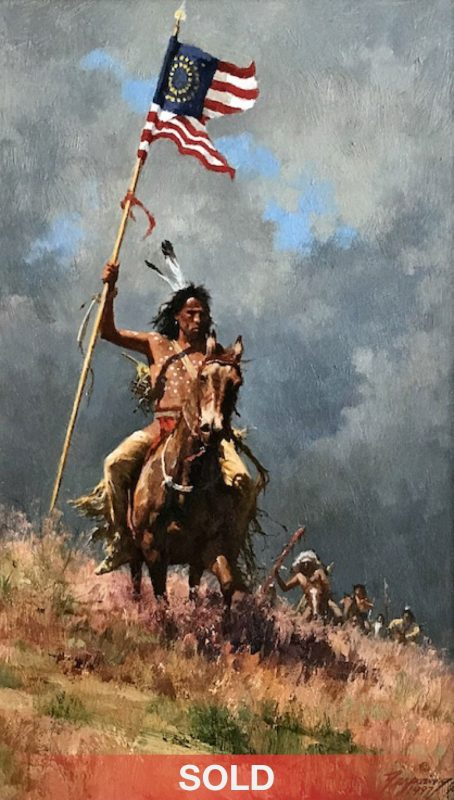 "Howard Terpning ""Change Of Command"" Native American American flag western oil painting"