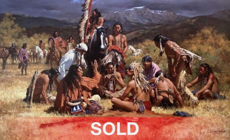 Howard Terpning Council of Chiefs Native American western painting canvas print giclee