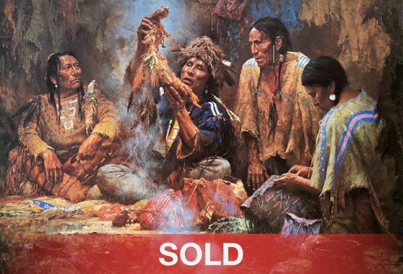 Howard Terpning Opening The Sacred Bundle textured canvas print Giclee sold