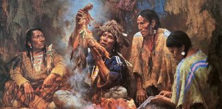 Howard Terpning Opening The Sacred Bundle textured canvas print Giclee