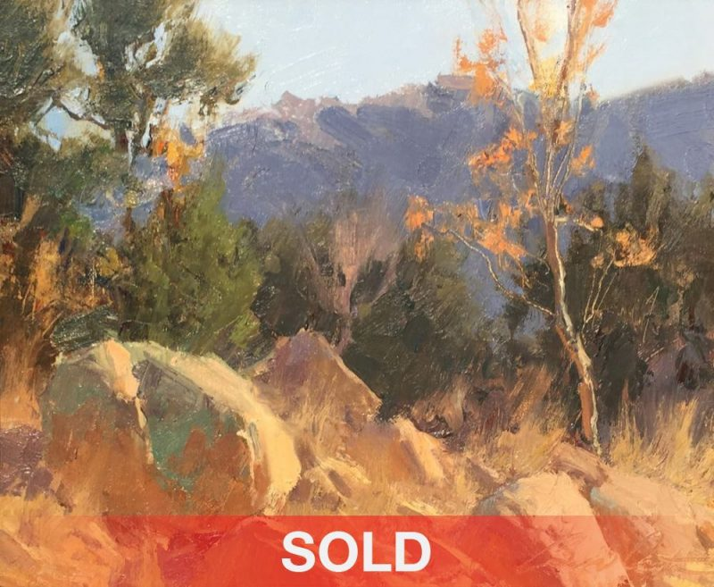 Bill Anton Fall Color Remnant boulders rocks mountains trees landscape oil painting sold