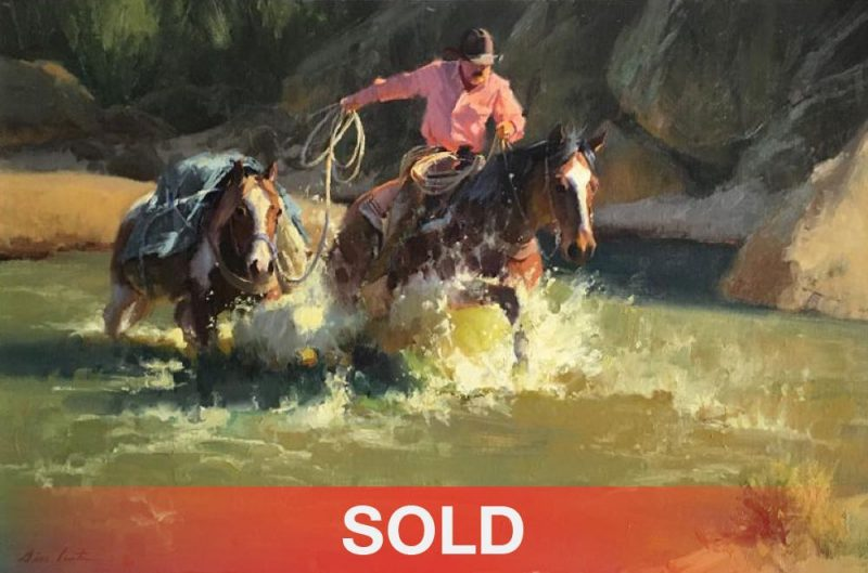 Bill Anton Horsepower cowboy horse pack horse water stream river western oil painting