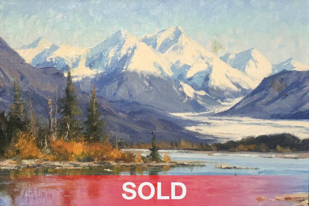 Matt Smith North Of Anchorage snow mountain water river stream lake trees landscape oil painting