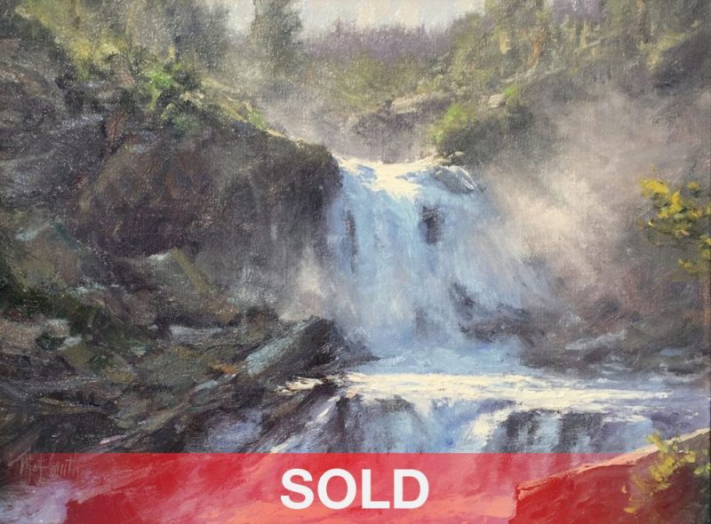 Matt Smith Spring Runoff waterfall river stream mountain rock landscape oil painting sold