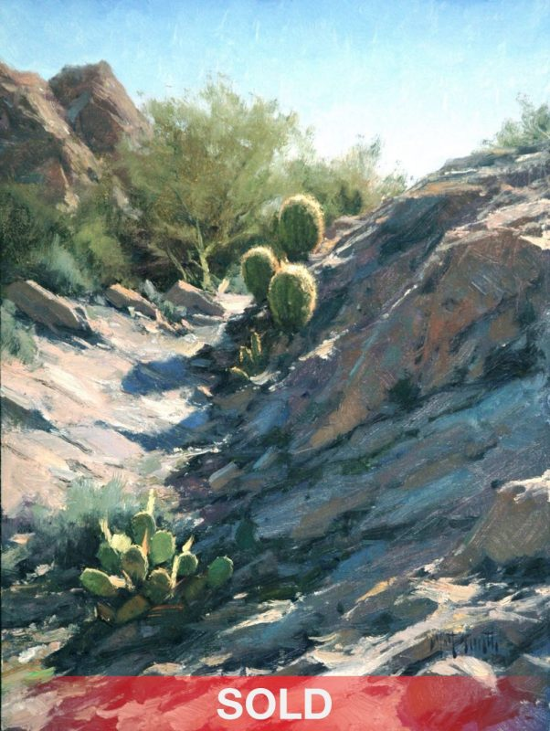 Matt Smith Willow Spring Barrels cactus western landscape cacti oil painting sold