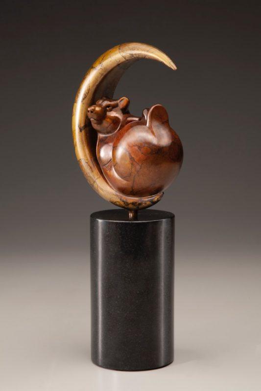 """Tim Cherry """"Luna Bear"""" bronze wildlife sculpture side view"""
