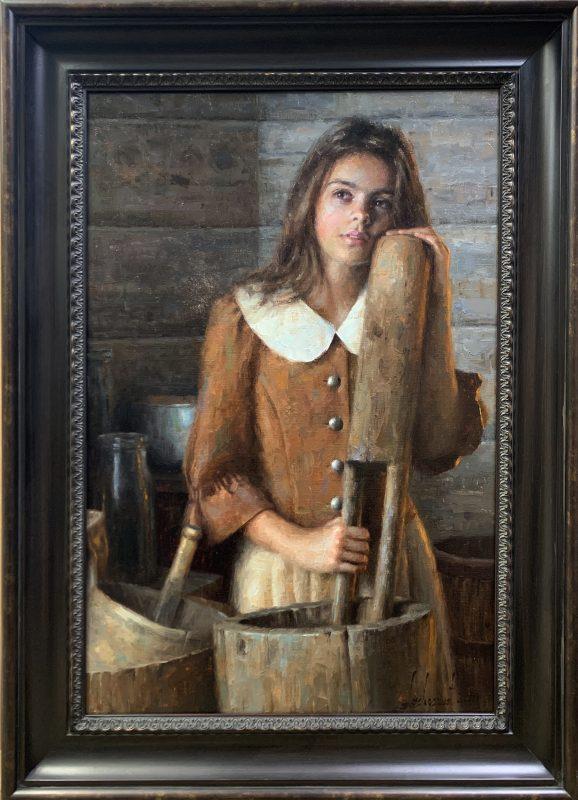Damian Lechoszest Anna's Daydream girl woman dehulling western oil painting framed