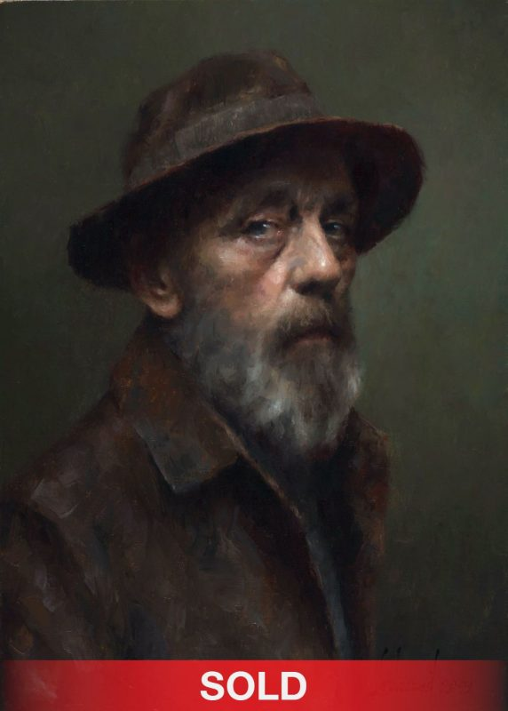 Damian Lechoszest Don Quixote old man portrait western oil painting sold