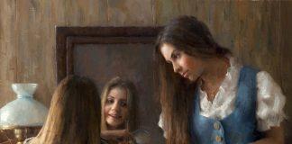 """Damian Lechoszest """"A Sister's Secret"""" girls women woman dressing mirror western oil painting"""