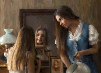 "Damian Lechoszest ""A Sister's Secret"" girls women woman dressing mirror western oil painting"