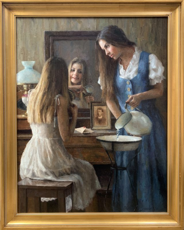 "Damian Lechoszest ""A Sister's Secret"" girls women woman dressing mirror western oil painting framed"