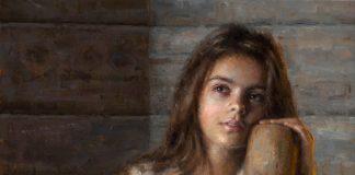 Damian Lechoszest Anna's Daydream girl woman dehulling western oil painting