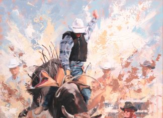 Jim Connelly Dustup cowboy bull rodeo action western oil painting