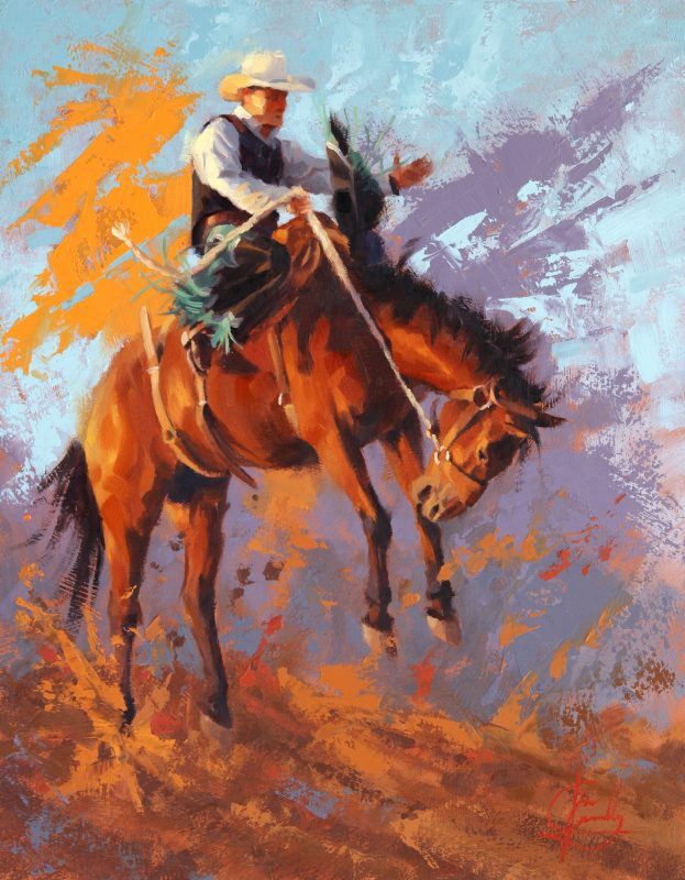 Jim Connelly Mean Streak buck horse cowboy action western oil painting