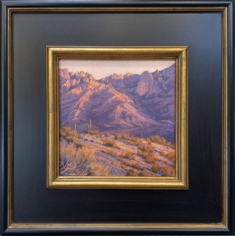 "Darcie Peet ""Catalina Rose"" desert mountain western landscape oil painting Tucson Arizona framed"
