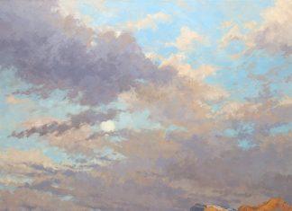 Darcie Peet Desert Rain December Moon western oil landscape painting