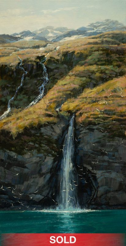 "Darcie Peet ""Fall Forever"" waterfall lake high mountain western lake oil painting"