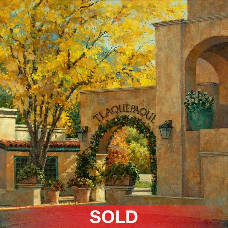 Darcie Peet Getting Ready For Christmas Tlaquepaque Sedona Arizona architecture western oil painting
